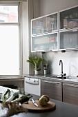 Moderne Küchenzeile mit Edelstahlfronten und Hängeschränke mit Mattglastüren