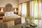 Mediterranean hotel room with mattress on wooden platform