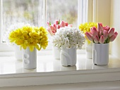Pretty Spring Flower Bouquets on a Window Sill