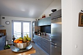 Vignette of stainless steel appliances.
