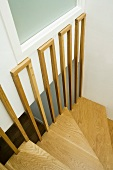 Wooden stairs in stairwell