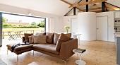 Free-standing corner sofa in living room
