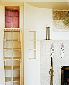 Niche with fireplace & shelving