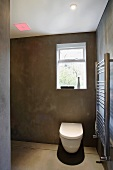 Bathroom with toilet and steel towel rail