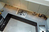 Top view of kitchen worktop, gas hob and sink
