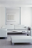 White seating in cool living room