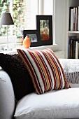 Decorative cushions on a sofa