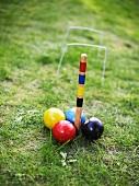 Croquet balls on lawn