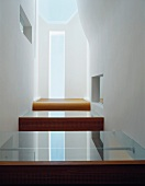 White hallway in contemporary house