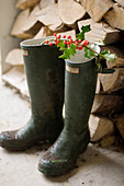 Twig of red berries laid across pair of Wellington boots