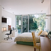 Bedroom with floor-to-ceiling windows