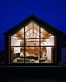 View into illuminated house