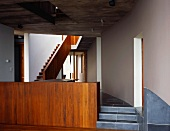Staircase with wooden balustrade