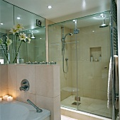 Modern bathroom with glass shower area