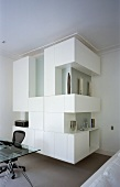 Made-to-measure cupboards with white doors in living room