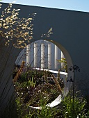 Circular aperture in concrete garden wall with view of plants