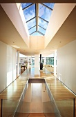 Hallway with skylight in contemporary house