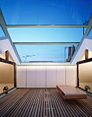 Roof terrace with sliding glass roof