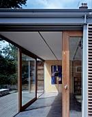 View of interior through open sliding terrace door
