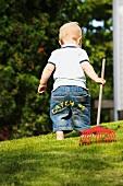 Little boy with rake in garden