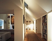 Library and living room in evening ambience