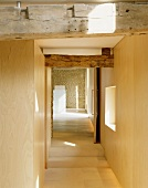 Modern hallway with wooden components of an old farmhouse