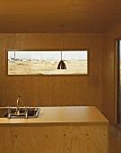 Wood-clad kitchen island and interior walls