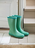 Pair of green Wellington boots next to stairs