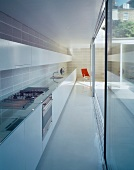 Long, narrow room with fitted kitchen opposite glass wall