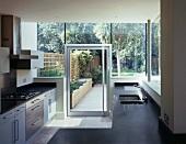 Designer kitchen with view of garden