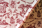 Detail of wallpaper with erotic pattern