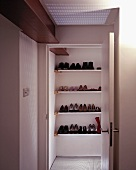 View of fitted shelving with shoes through open door