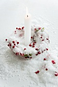 Candle holder made of ice & berries with white candle