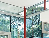 Corner of room with glass structure