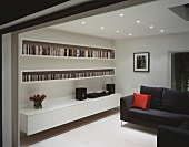 Living room with wall unit and sofa