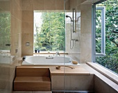 Bathroom with view of garden