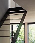 Metal staircase in living room (detail)