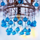 Chandelier with blue glass beads