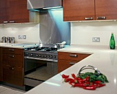 Modern fitted kitchen with broad, stainless steel handles on wooden doors and stainless steel cooker unit