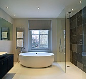 Free-standing, designer bathtub and floor-level shower with glass screen in modern bathroom