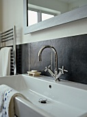 Rectangular sink with chrome fittings
