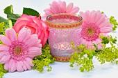 Table decor with tea light holder & gerbera daisies