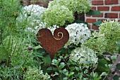 Metal heart as garden decor
