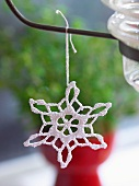 Christmas handcrafts - white, crocheted star