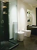 Contemporary, black and white designer bathroom in classic extension