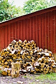Firewood piled against a wooden wall