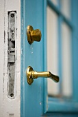 Door with brass handle and bolt in vintage style
