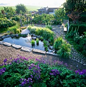 Garden pond with a fountain