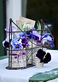 Spring arrangement of violas - vases made from tin cans covered with paper in wrought iron bottle carrier