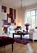 Stylish combination of white and purple in living room
